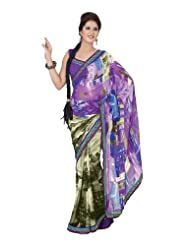 Fabdeal Indian Designer Georgette Purple Printed With Lace Border Saree