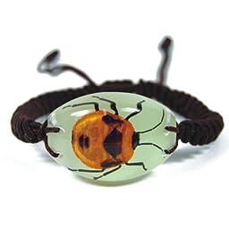 Glow In The Dark Lucite Oval Twisted Band Bracelet w/ Genuine Flower Bug