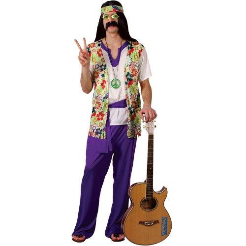 Hippie floral waistcoat, flared trousers, headband, sash belt