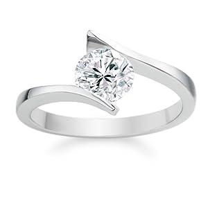 Diamond Manufacturers - Bague de fiancailles avec diamant Rond Femme - Or blanc 750/1000 (18 cts) - Diamant 0.35 ct