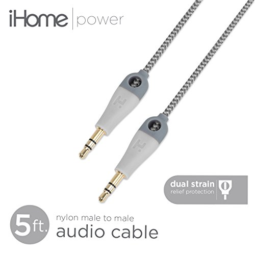 iHome - 5' Double Injected Nylon Braided Audio Aux Cable - 3.5mm 1/8