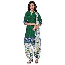 BanoRani Womens Green & White PolyCotton Printed UnStitched Dress Material (Patiyala)