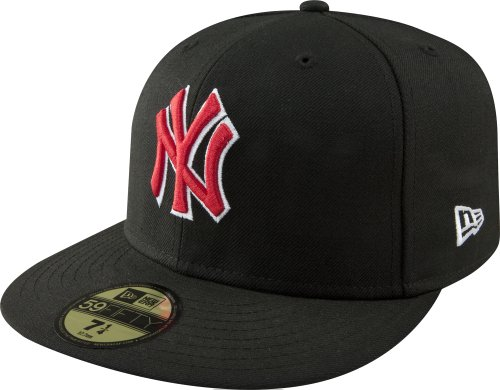 MLB New York Yankees Black with Scarlet and White 59FIFTY Fitted Cap, 7 3/8