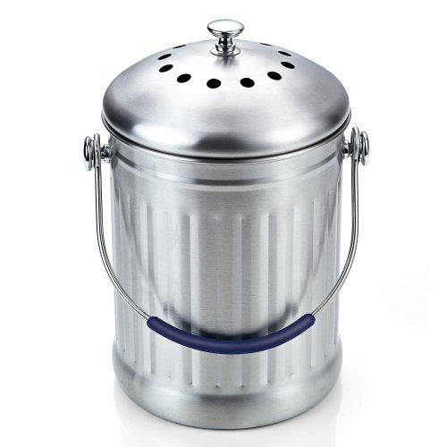 cook n home stainless steel kitchen compost bin 1 gallon
