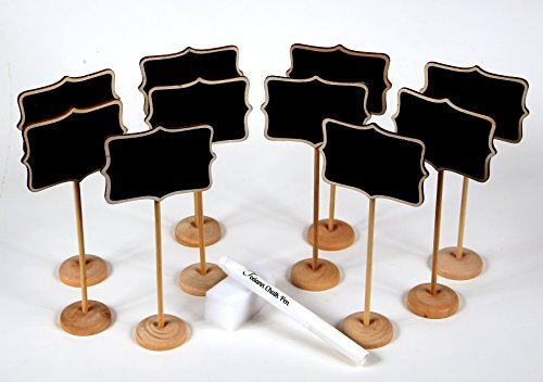 10 Piece Mini Rectangle Chalkboard Stands / Signs, White Liquid Chalk Pen & Erasing Sponge, use for Weddings, Parties, Table Numbers or Place Cards (Table Number Place Cards compare prices)