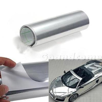 """'6""""X 60Car Auto Mirror Chrome Silver Sheet Wrap vinile adesivi film Air"""