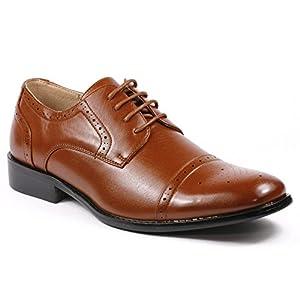 Magestik Men's Cognac Brown Perforated Lace Up Cap Toe Oxford Dress Shoes (9)