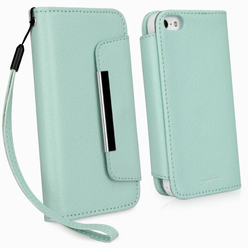 Best Price BoxWave Apple iPhone 5s / 5 Leather Clutch Case - Synthetic Leather Fashion Wallet Case with Detachable Hand Strap Wristlet and Card Slot Holder - Apple iPhone 5s / 5 Cases and Covers (Seafoam Green)