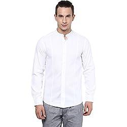 Atorse Mens White Cotton Casual Mandrin Collar Shirt
