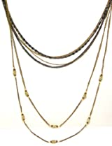 Rush Collection Bronze and Black Plated Multi-Chain Layering Necklace With CZ Crystals