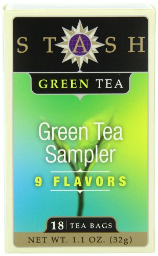 Stash Tea Green Tea Sampler, Nine Flavor Variety Pack, 18 Count Tea Bags in Foil (Pack of 6)