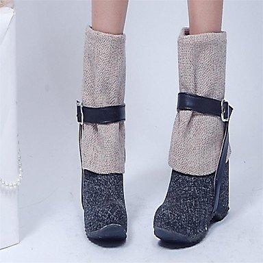 Frauen Keilabsatz Mitte der Wade Mode Stiefel (mehr Farben) bestellen
