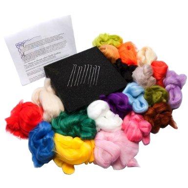 Great New Needle Felting Felt Kit Wool Needles Foam Pad by Curtzy TM