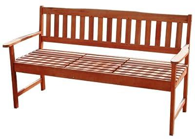 KMH®, Gartenbank aus massivem Eukalyptusholz (mit integriertem, einklappbarem Tisch) (#101909) von KMH mbH auf Gartenmöbel von Du und Dein Garten
