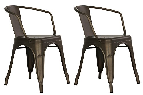 DHP Elise Metal Dining Chair (Set of 2), Antique Copper (Cool Dining Set compare prices)