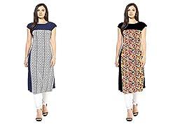 Swagg for women straight combo kurta (Medium)