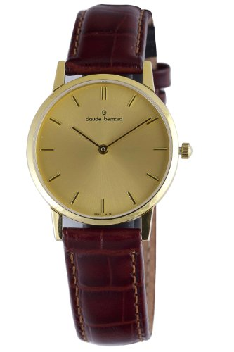 Claude Bernard Women's 20060 37J DI Classic Ladies - Slim Line Gold PVD Brown Leather Watch