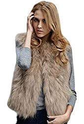 ROPALIA Luxury Womens Fox Faux Fur Vest Coat Sleeveless Short Waistcoat