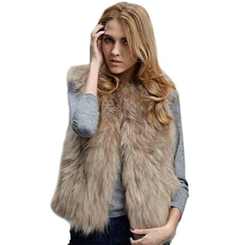 ROPALIA Luxury Womens Fox Faux Fur Vest Coat Sleeveless Short Waistcoat Faux Fur Vest