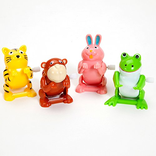 Bits-and-Pieces-Set-of-Four-4-Wind-Up-Flipping-Animals-Rabbit-Monkey-Cat-and-Frog-Do-Flips