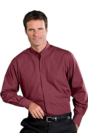 Edwards Garment Men's Banded Collar Shirt (small - 14/14.5 sleeve 32, Burgundy)