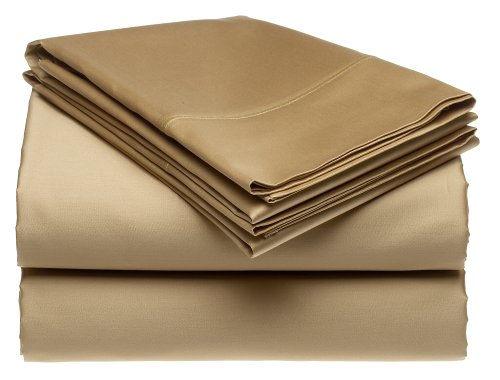 Renaissance 600-Thread-Count Cotton Sateen Queen Sheet Set, Cafe