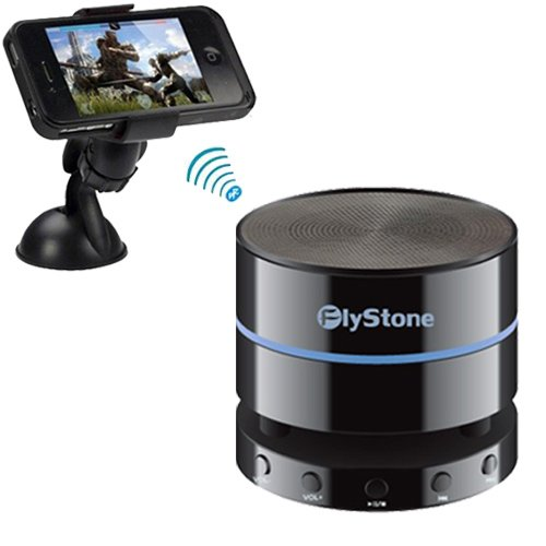 Flystone® Htc One M8 Universal Windshield & Dashboard Car Mount Cradle Holder + Portable Wireless Bluetooth 4.0 Speaker (Fully Backward Compatible) Mini Speaker With 3.5Mm Aux Port, Built In Speakerphone 10 Hour Rechargeable Battery And Enhanced Bass Reso