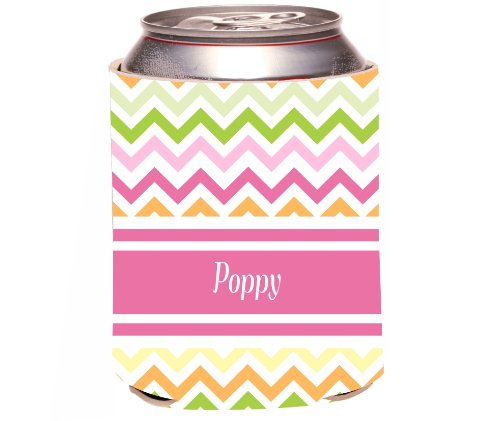 "Rikki Knighttm ""Poppy"" Pink Chevron Name Design Drinks Cooler Neoprene Koozie"