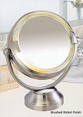"""Best Cheap Deal for Fluorescent CooliteTM Lighted 8 1/2"""" Double Sided Swivel Vanity Cosmetic Mirror 8x plus 1x in Satin Nickel from Floxite - Free 2 Day Shipping Available"""