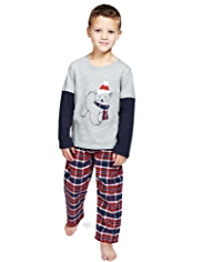 Pure Cotton Polar Bear Print Checked Pyjamas