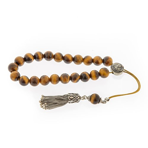 Tiger Eye Gemstone Handmade Worry Beads (Komboloi) Sterling Silver 925, Horoscope Sign of Leo - Free Shipping WorldWide