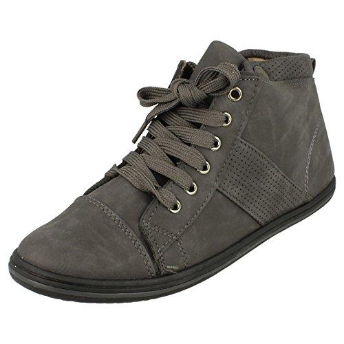 Spot On Stivaletti alla caviglia piatta/Lace Up, grigio (Grey), 37.5
