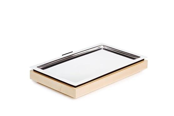 APS Cool Plates Set 1 53 x 32,5 cm, altezza 8,5 cm in legno di acero, massiccio GN 1/1 base element GN 1/1 in acciaio inox vassoio fresco batteria by SIEGER DESIGN