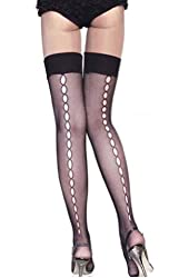 Muka Sheer Fishnet Thigh High Stockings With Back Hollow