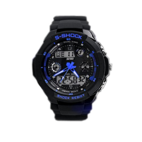 [Skmei] sport watch and waterproof LED backlight / digital display stopwatch with mens Womens casual sport diving (blue)