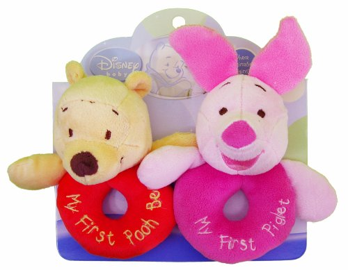 Disney Baby Plush Ring Rattles - Winnie the Pooh and Piglet - 1