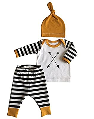 3Pcs/Set Newborn Baby Girl Boy Striped Long Sleeve Tops Pant Hat Outfits Clothes by Aliven that we recomend individually.
