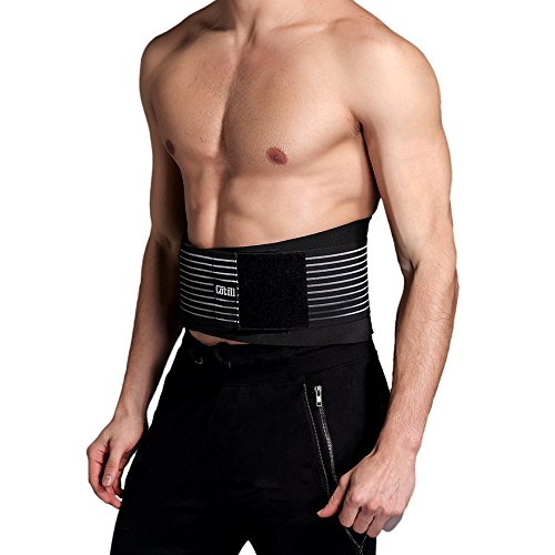 Lumbar Lower Back Brace and Support Belt By Cotill - 8 stable Splints for Back Pain Relief - Dual Adjustable Straps and Breathable Mesh Panels (L/XL) (Backache Belt compare prices)