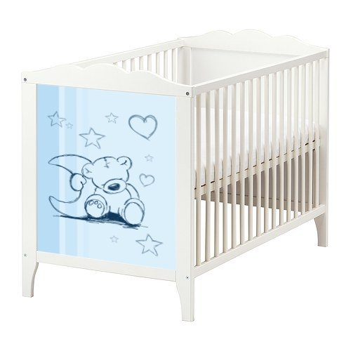 teddy aufkleber in blau f r das babybett hensvik von ikea bb01. Black Bedroom Furniture Sets. Home Design Ideas