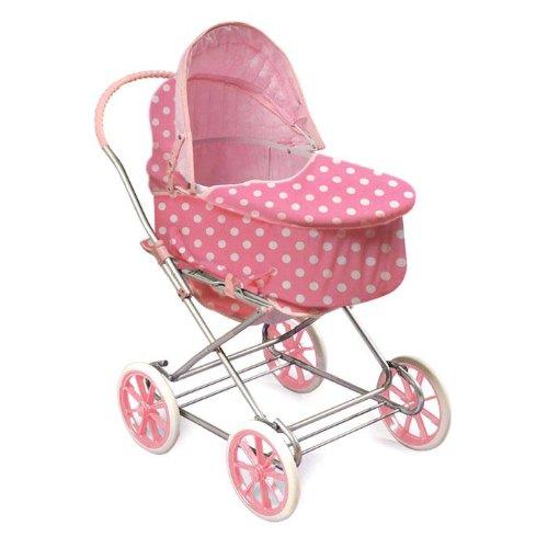 Badger Basket Polka Dots 3-in-1 Doll Pram Carrier And Stroller - Pink/White