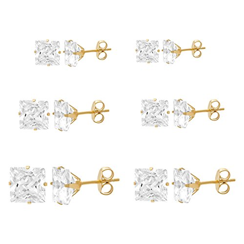 [Women's Gold Tone Stainless Steel Clear Square Cz Cubic Zirconia 6 Pair Stud Earring Set 3-8mm] (Boys Snowflake Costume Uk)