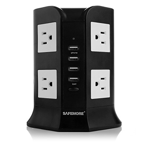 Smart 8-Outlet Home / Office Surge Protector 930 Joules Power Strip 4000W 110-250V Worldwide Voltage Power Socket With 4 USB Outputs for Smartphone & Tablet, Including 6.5 Feet(2.0 Meters) Black Cord