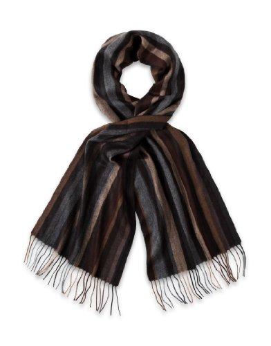 VB Écharpe, classique - marron clair, marron, gris, noir - a rayures 8c4a1b8cb7d