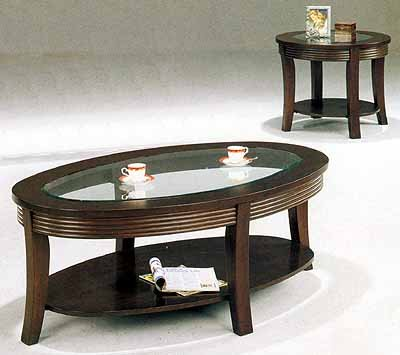 Cappuccino Finish, Oval 3 Piece Table Set w Glass