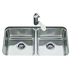 KOHLER K-3350-NA Undertone Double Equal Undercounter Kitchen Sink
