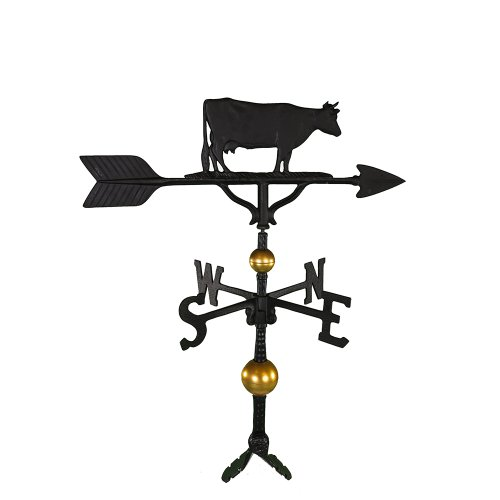Montague Metal Products 32-Inch Deluxe Weathervane with Satin Black Cow Ornament