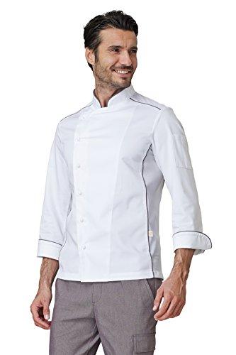 """Giacca per cuoco """"Adrian"""" in cotone/poliestere. Inserti traspiranti. Colore bianco. Peso al mq. gr. 200. - Taglia: M - Varianti: bordino tortora"""