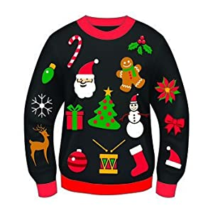 Christmas Sweater-- Ugly Christmas Sweater!!-- Christmas Costume-- Choose Your Style!! (Xlarge 48, Christmas Icons)