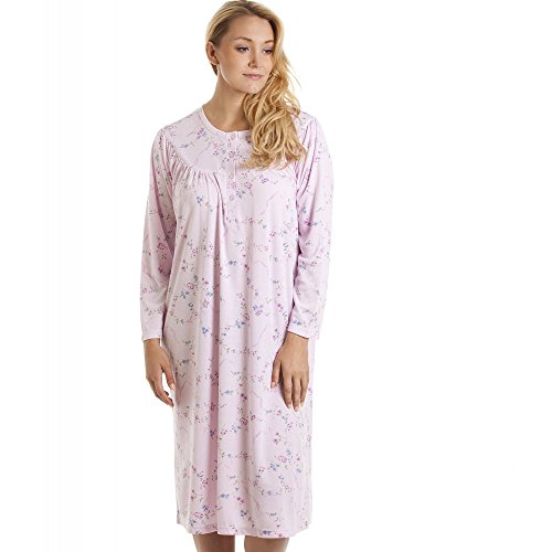 Camille Womens Ladies Classic Pink And Purple Floral Print Long Sleeve Nightdress