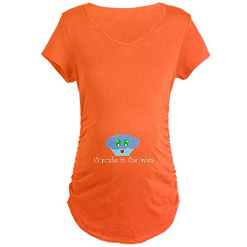 Cafepress Cupcake In The Oven Maternity Dark T-Shirt - L Coral front-609299